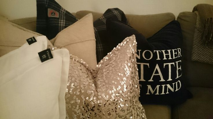 Mix of designer pillows and homemade ones.