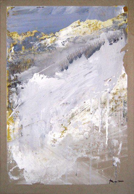 Antonio Pedretti - La montagna in alto, 2015. Olio su cartone, cm. 50x35