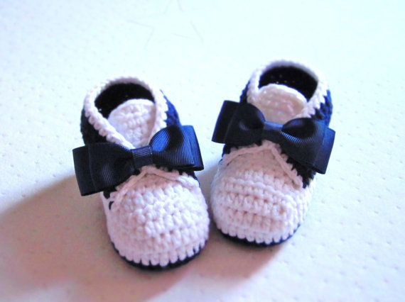 Tuxedo Style Crochet Cotton Baby Booties