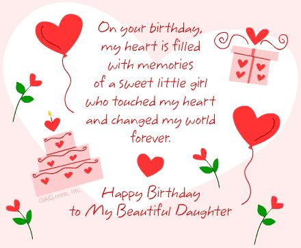 ~♡ Happy Birthday To My Beautiful Daughter~♡   On your Birthday my Heart is filled with Memories of a sweet little girl who touched my heart and changed my world forever♡