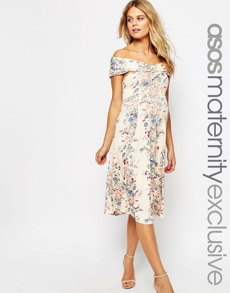 Immagine 1 di ASOS Maternity - Vestito midi con spalle scoperte a incrocio con stampa floreale vintage