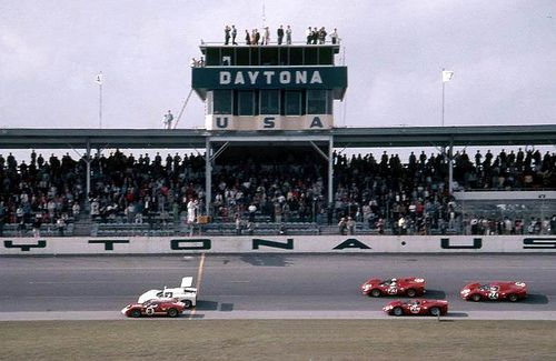 https://flic.kr/p/83xfHm   Start of the 1967 24 Hours of Daytona   The start of the 1967 24 Hours of Daytona shows the #3 Ford Mk II of A.J. Foyt and Dan Gurney car first, the #15 Chaparral 2F of Phil Hill and Mike Spence second, and the #23 Ferrari 330 P3, #24 Ferrari 330 P4 and finally the #26 Ferrari 412P.  Those Ferrari cars came in 1st, 2nd, and 3rd for a clean sweep.  The winning car was driven by Lorenzo Bandini and Chris Amon.  Photo courtesy of Dave Kutz.