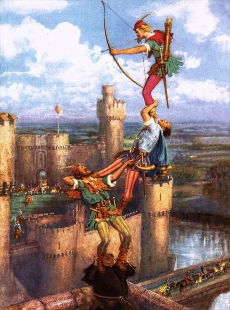 Robin Hood Shooting into Nottingham Castle by John Millar Watt.