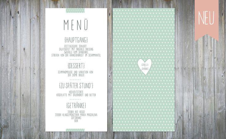 Einladungskarten - Herzchen | Menükarte - ein Designerstück von Jennemariepaperlove bei DaWanda