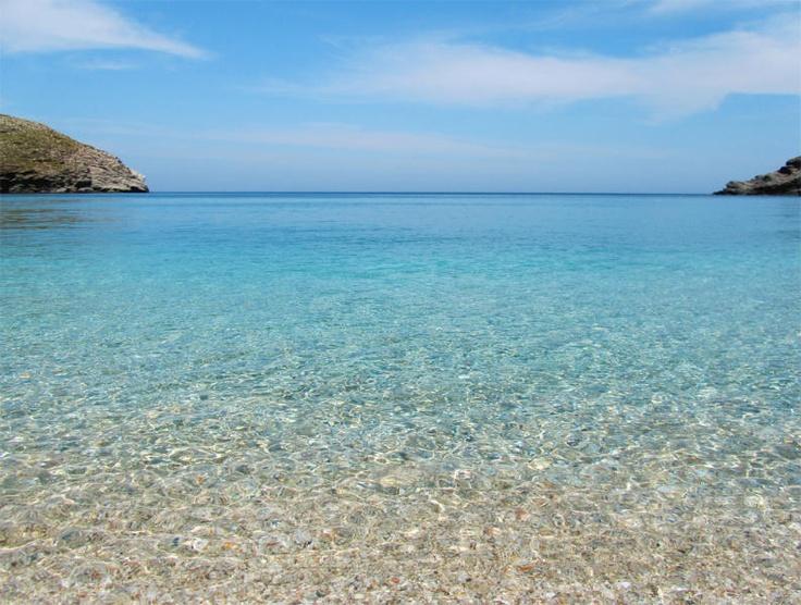 Sandy beaches and rocky coastlines at #Andros Island, Greece, Achla Beach