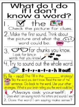"In this file you get our Reading Strategies Poster and Student Book marks. The large poster is 4 tiled pages that can be trimmed and put together to make a classroom poster. The small one is 8 1/2 by 11"" and can be used for your small group instruction."