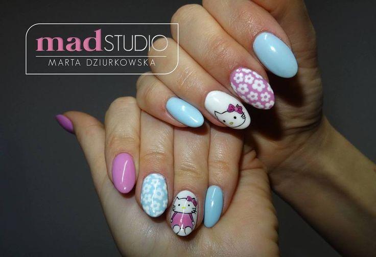 Akryl i hybrydowe zdobienie hello Kitty❤❤❤  SPN Nails UV laq Pastel Ocean, So Cute, My wedding dress, Wild Orchid