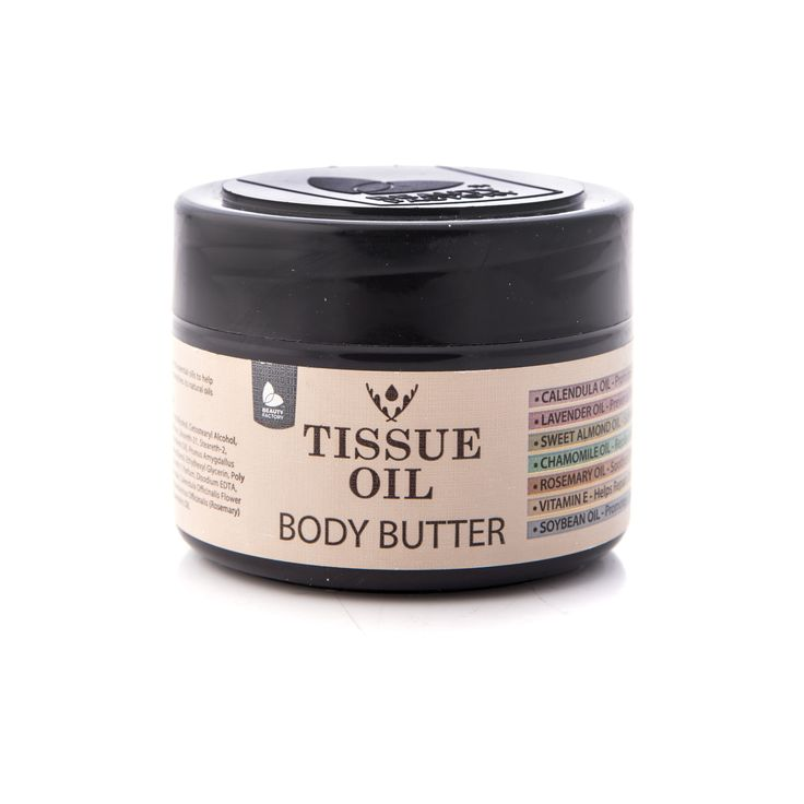 TISSUE OIL BODY BUTTER. INTENSIVE NOURISHMENT  Body Butter promotes cell regeneration and blood circulation, which in turn rejuvenates troubled and ageing skin. Highly recommended for people with dry skin. Tissue Oil Body Butter 250ml | GoodiesHub.com