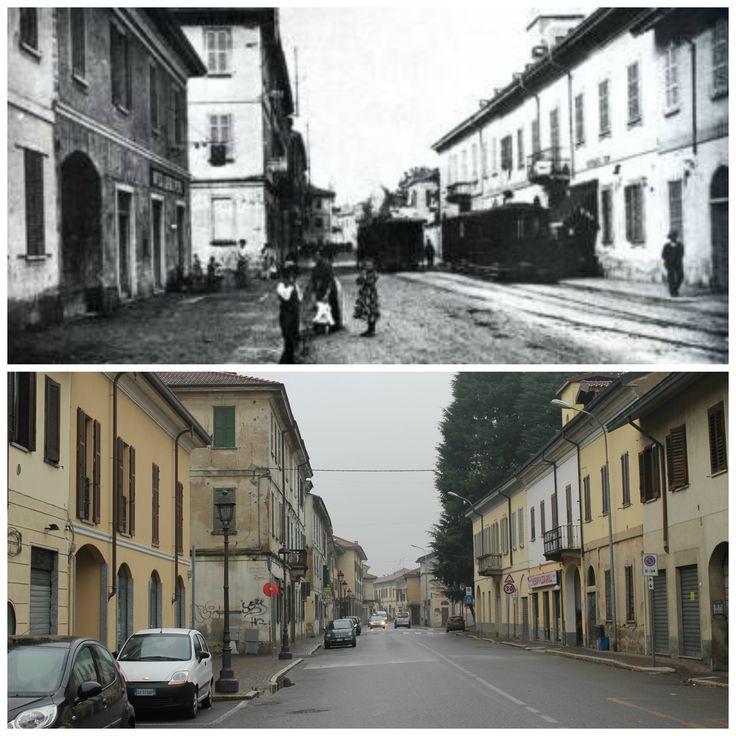 """Sedriano - Via Fagnani. Inizi del'900-2014 (45°29'14.7""""N 8°58'21.1""""E 45.487418, 8.972526)"""
