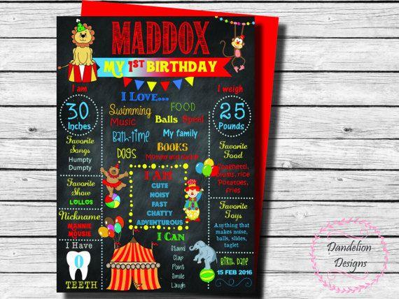 Circus carnival 1st Birthday chalkboard circus chalkboard