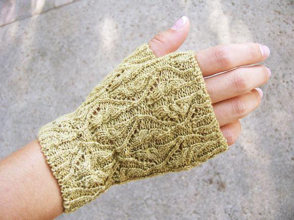 Free Knitting Pattern - Fingerless Gloves & Mitts: Verdigris Lace Fingerless Gloves