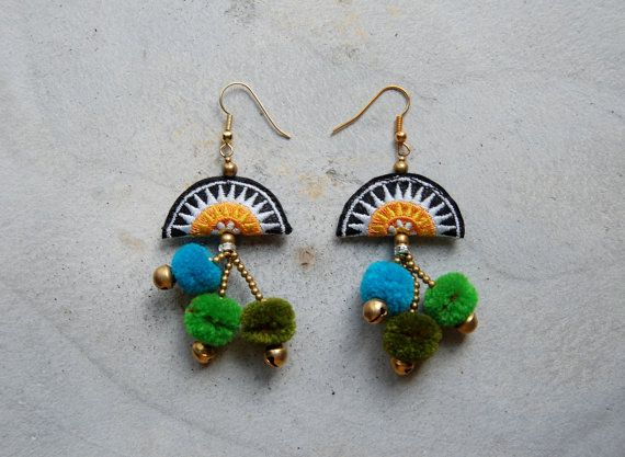 Yellow Hmong Embroidery Pom Pom Earrings