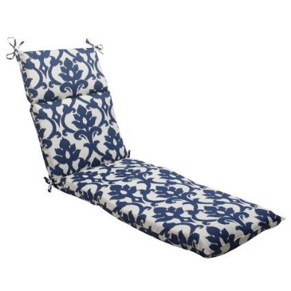 """72.5"""" Navy Victorian Floral Outdoor Patio Chaise Lounge Cushion with Ties"""