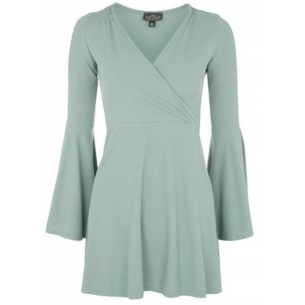 Petite Women's Topshop Flute Sleeve Skater Dress (£44) ❤ liked on Polyvore featuring dresses, petite short dresses, long-sleeve mini dress, skater dress, short green dress and green mini dress