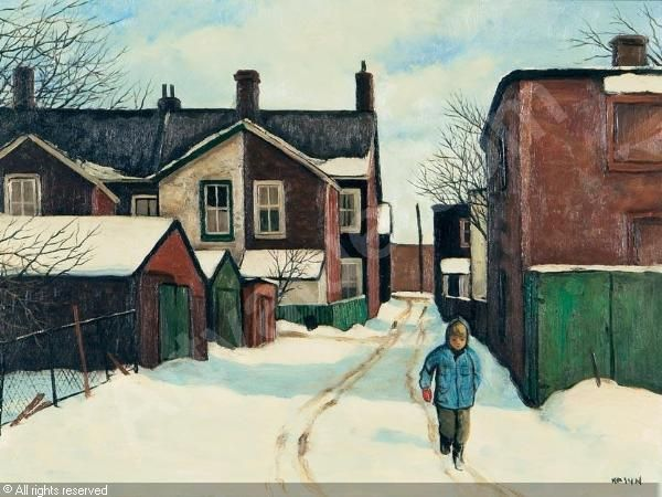 Shortcut Through Morse Street Lane by John Kasyn, 1926-2008.(looks like the alley behind Mike's Garage, Morse St south of Eastern looking toward Carlaw)