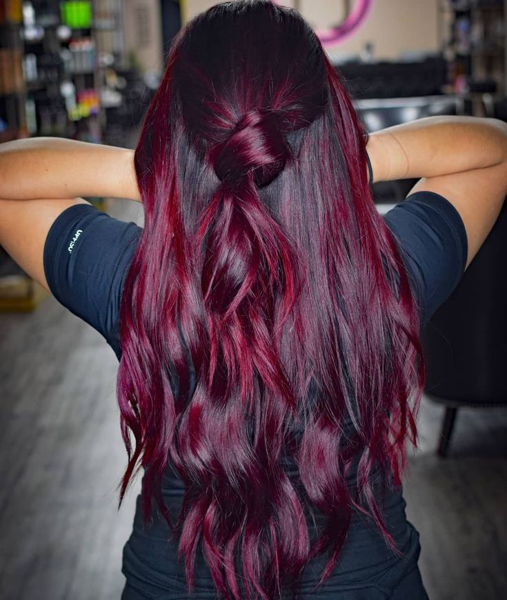 Burgunderrot Haarfarbe Lila Strähnen #balayage #rot #