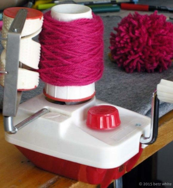 Ball winder is a multi-tool! Use it to make pom poms.