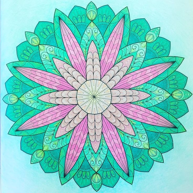 "Mental Images Coloring Books (@paivivesala_art) on Instagram: ""Balancing mandala 💚💖 Coloring book: Mental Images vol 2 (Amazon) Colored with Caran d'Ache Pablos."""
