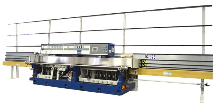 The Bovone ELB 14/45 is a 14 wheel machine for producing flat and arris profile with a variable mitring group upto 45 degrees and cerium polish. There are 6 mitring wheels attached to the swivelling beam. The main movements of the machine are controlled by PLC from Siemens. The main working...