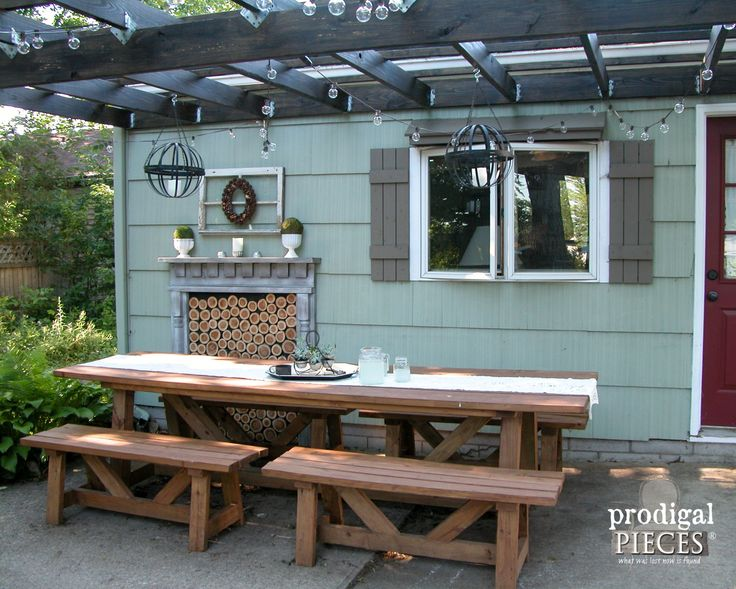Large Harvest Table With Benches For Patio Dining | Prodigal Pieces |  Www.prodigalpieces.