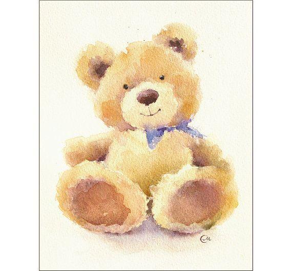 Teddy Bear  originele aquarel schilderen 8 x 10 door CMwatercolors