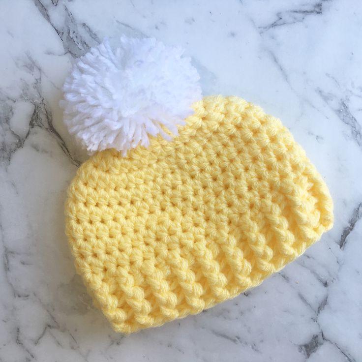 Crochet Pom Pom baby beanie. AVAILABLE NOW ON Etsy