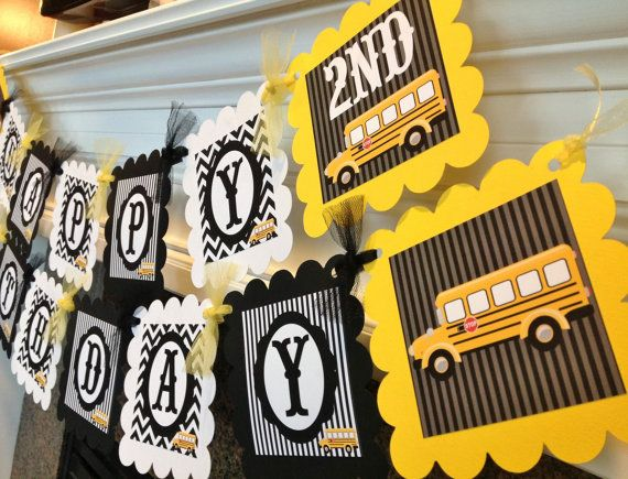 School Bus Happy Birthday Banner  Black by EmeraldCityPaperie, $28.00 - But Magic School Buses can use at both parties.