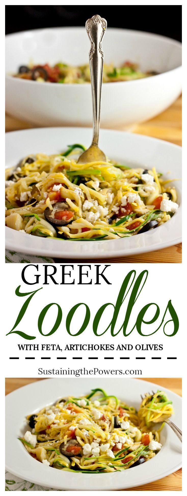How to Make Greek Zucchini Noodles   These zoodles are one of my most popular recipes. They taste like an indulgent pasta dish, but the spiralized zucchini noodles mean this is packed full of gluten-free veggies instead! Click through now to get the recipe!