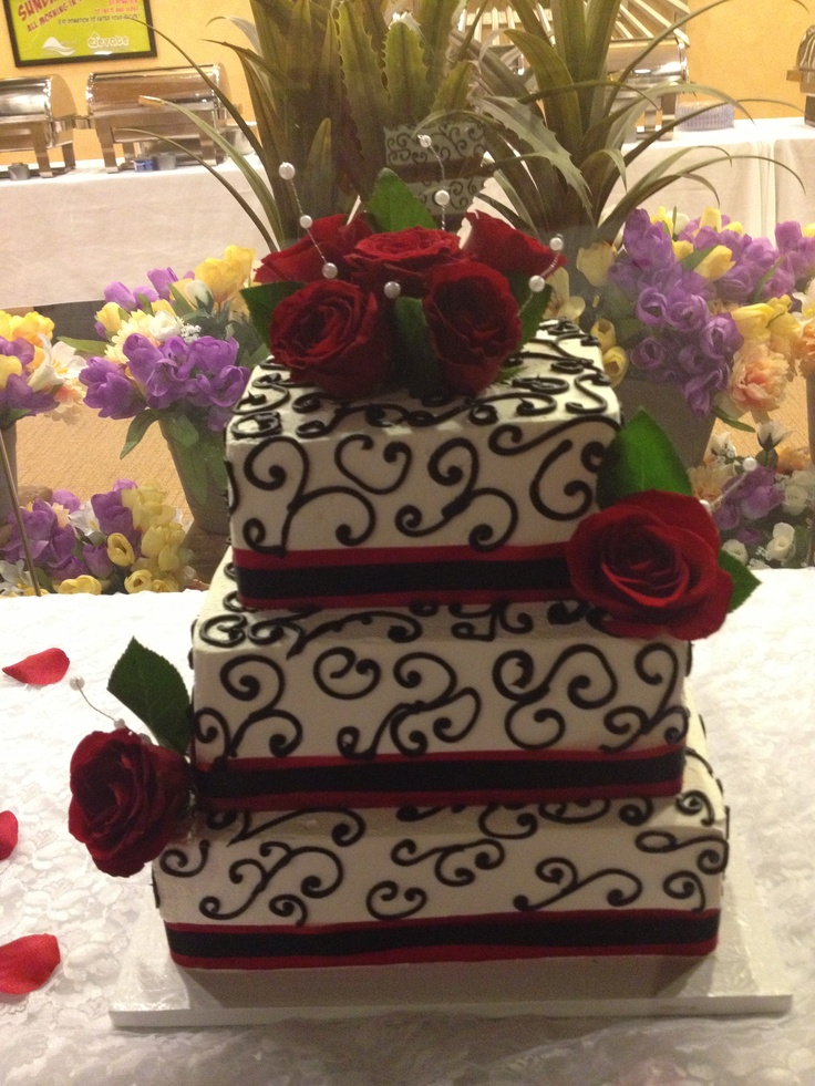 My design for a black and red wedding cake