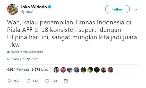 Cukur Habis Filipina, Presiden Jokowi Sebut Timnas U-19 Bisa Juara