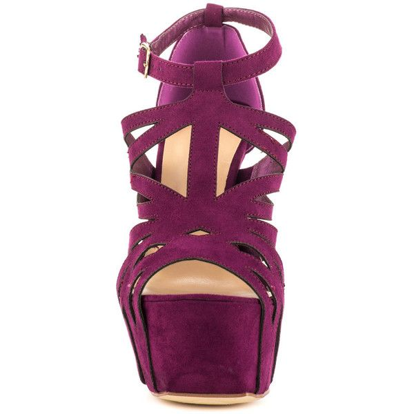 JustFab Women's Neri - Purple ($55) ❤ liked on Polyvore featuring shoes, pumps, justfab, strap shoes, ankle strap shoes, strappy platform pumps and purple pumps