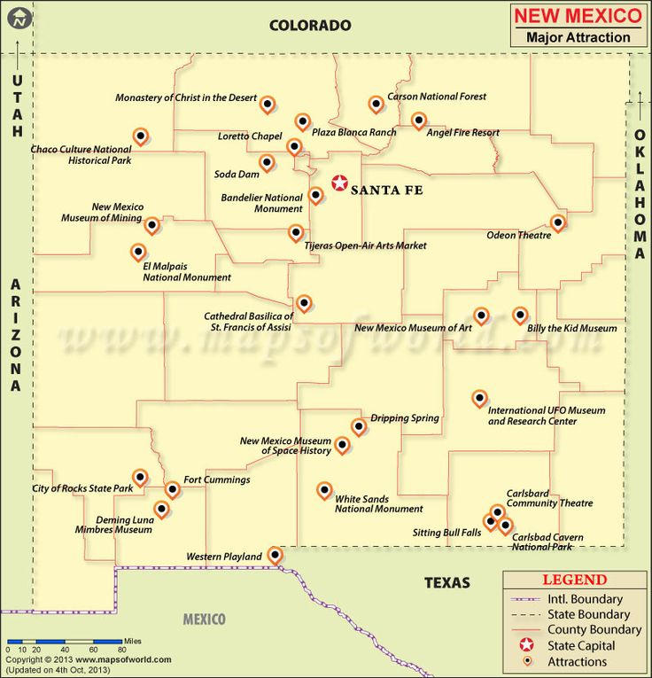 New Mexico Travel Attractions Map