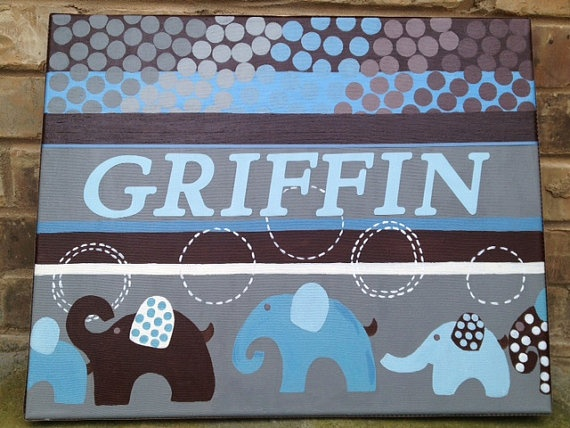 Custom painted baby name canvas Match any by SasseyWithClass, $40.00