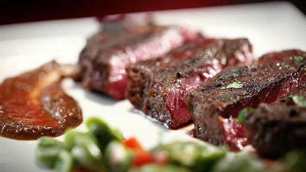 MKR4 Recipe - Beef Fillet With Cacao and Chilli Harissa and Broad Bean Salad