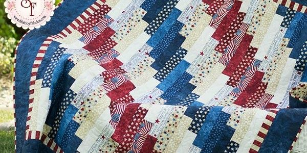 Standing Strong Patriotic Jellyroll Quilt – Free PDF Pattern from Shabby Fabrics