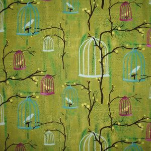 Laura Gunn Fabric Hanging Cages by neemerone on Etsy: Laura Gunn, Yard, Hanging Cages, Birdcages, Fabrics, Limes, Michael Miller, Birds