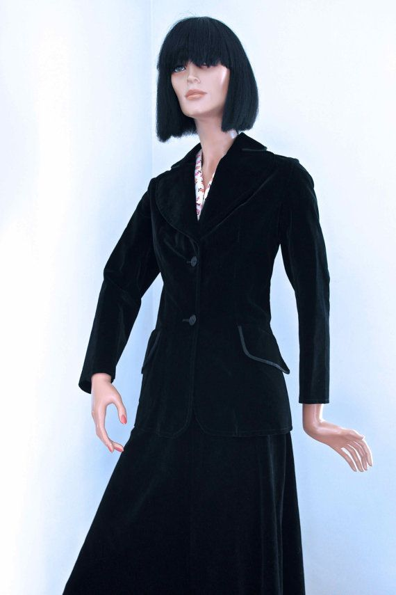 Early 1970s  jet BLACK velvet fitted jacket by VicAndBertieVintage, £25.00