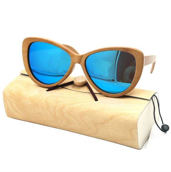 Bamboo Wooden Sunglasses Cat Eyewear
