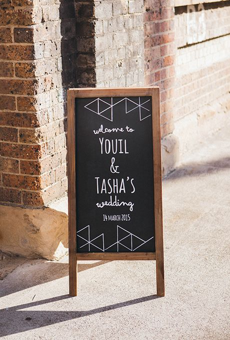 Wedding Welcome Signs: Modern Chalkboard Easel with Geometric Designs