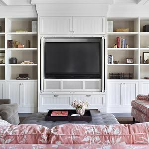 Burnham Design - living rooms - coffered ceiling, white, built-ins, media center, beadboard, doors, TV, built-in, TV, nook, back, shelves, lined, taupe, grasscloth, wallpaper, mink, velvet, chairs, gray, leather, tufted, ottoman, sofas, upholstered, pink, Chinoiserie, toile, fabric, built-in cabinets, built-ins, living room built-ins, white built-ins, white built-in cabinets, built-in bookcase, living room bookcase, fireplace built-ins, built-in media center, built-in media cabinet, built-in…