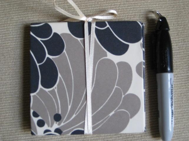 Black and white handmade book, floral giftbook, blank notebook, keepsake book £7.00