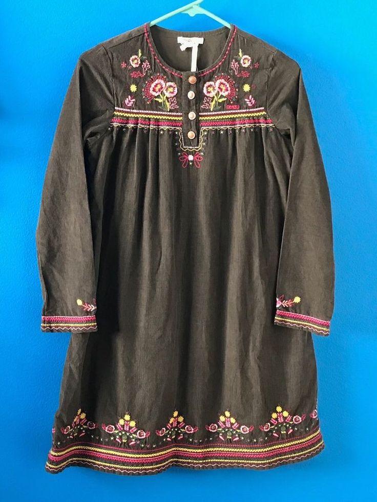 NWT KENZO KIDS Girls Brown Corduroy Embroidered Dress Size S 14-16 Teens Youth #KENZO #Tunic #DressyHolidayPartyChristmas