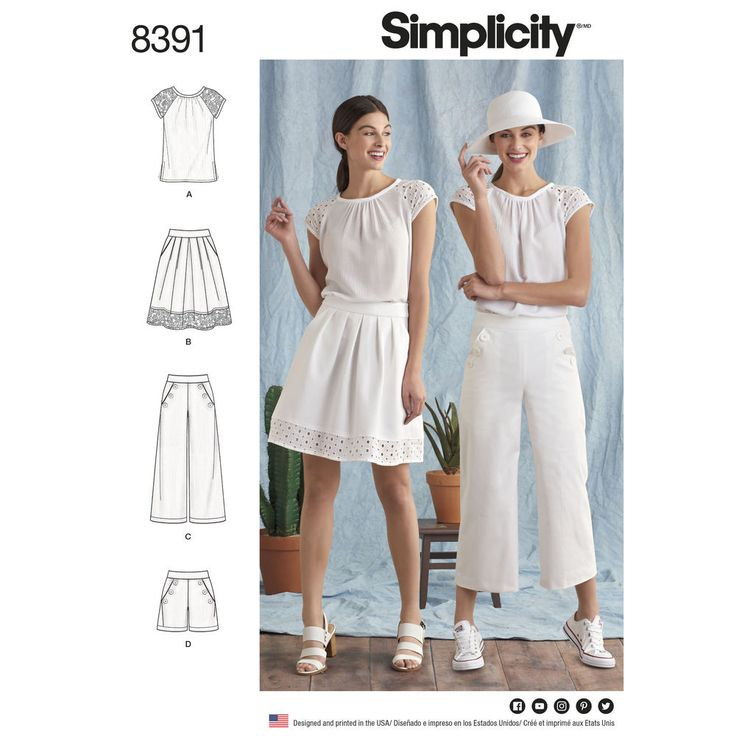 Update your summer wardrobe with these separates including sailor-style pants or shorts, pleated skirt, and easy blouse.