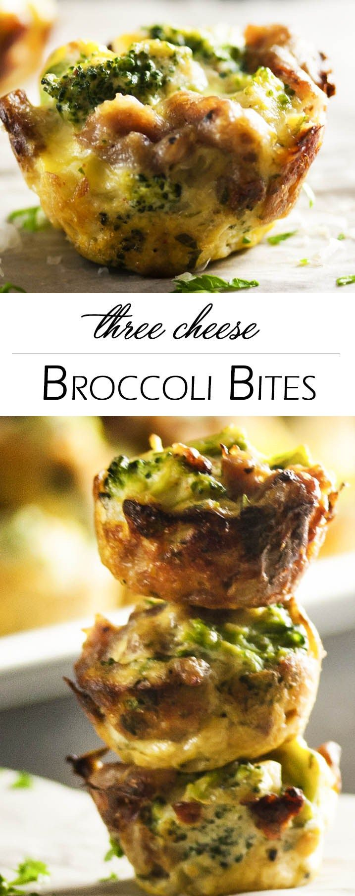Three Cheese Broccoli Bites - Italian sausage and ricotta combine with broccoli and even more cheese to pack a pile of flavor into each little bite. Excellent as a side dish or an appetizer! | justalittlebitofbacon.com