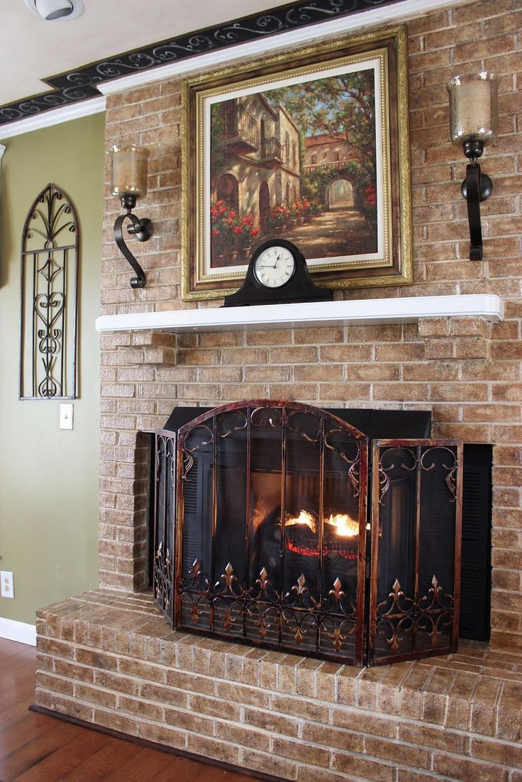 Fireplace Makeover Fireplaces Mantels Home Decor Living Room Ideas It Took Some Experimenting But I Faux Finished The Brick Using Three Different Colors