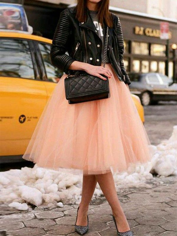 7d28539f8 Champagne Grenadine Fluffy Puffy Tulle Plus Size High Waisted Homecoming  Party Tutu Midi Skirt