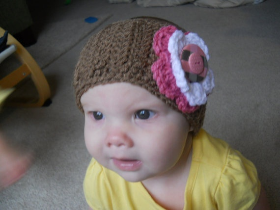 Ear warmer with button flower babysize by katyrudz on Etsy, $8.00