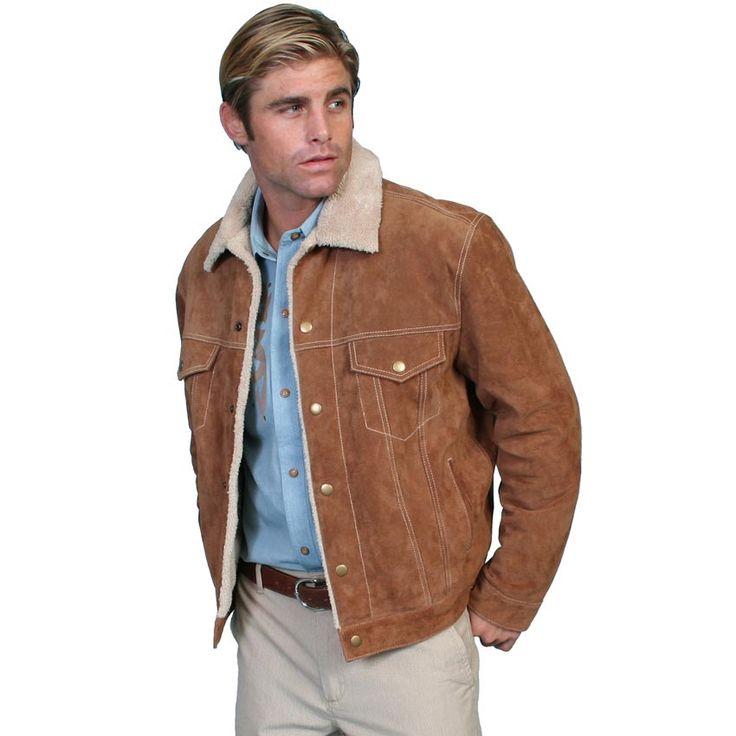 Scully Leather® Mens Boar Suede Fleece Lined Snap Western Jean Jacket