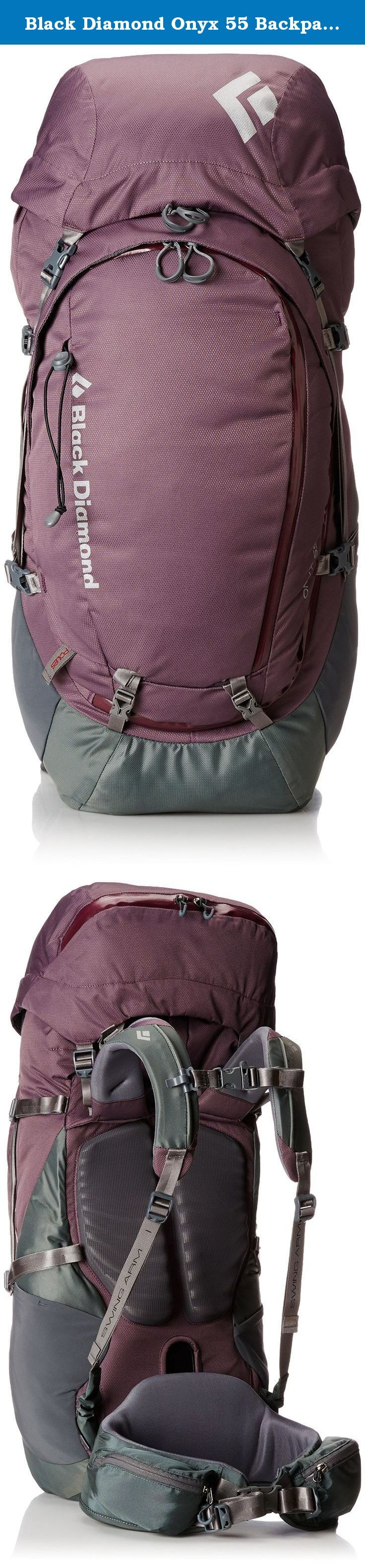 Black Diamond Onyx 55 Backpack, Purple Sage, Small. A durable, full-featured women's-specific pack that maximizes comfort and stability during long days on the trail, the Black Diamond Women's Onyx 55 Backpack is ideal for weekend trips from Yosemite to the Ice Age Trail. Our ergoACTIV XP suspension system uses a custom, 3D pivoting hip belt, women's-specific fit and SwingArm shoulder straps for increased stability, unparalleled freedom of movement and dynamic load transfer. The pack's…