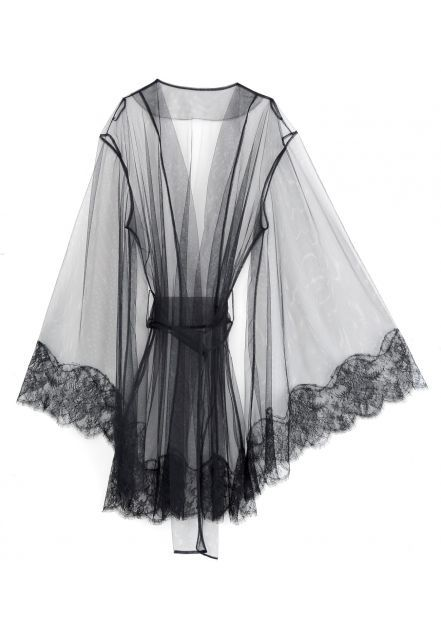 my god, it's invisible! // I.D. Sarrieri KEY TO ROOM 13 Mini Robe With Cloche Sleeves In Tulle And Lace - lingerie galleries, ladies in lingerie, saxy lingerie *ad